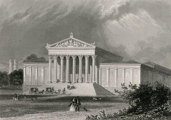 Bild Das Ausstellungsgebäude am Königsplatz um 1850 in einem zeitgenössischen Stich