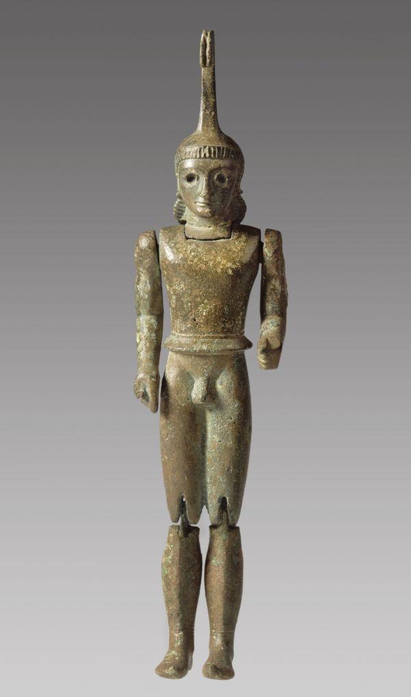 Bild Bronzepuppe eines schwerbewaffneten Kriegers, ursprünglich mit einem Schild (Hoplon). Um 550 v. Chr.