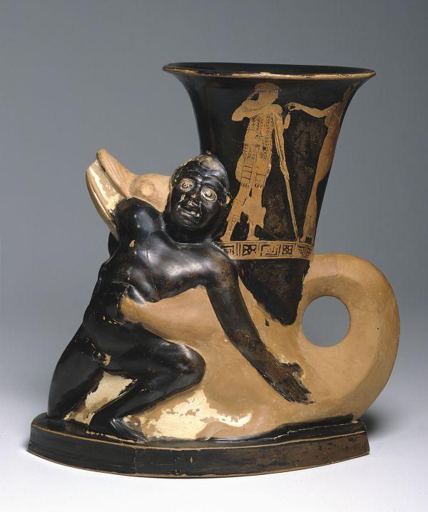 Bild Der Töpfer Sotades war bekannt für seine prachtvollen Trinkgefäße, hier in der Gestalt eines Krokodils. Aus Athen, 460/450 v. Chr.
