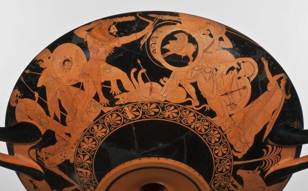 Bild Trinkschale des Euphronios mit Herakles, der gegen den dreileibigen Geryoneus kämpft. Aus Athen, um 510 v. Chr.