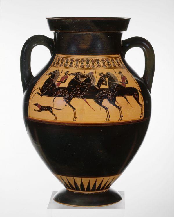 Bild Diese Bauchamphore, die einen Ausritt zur Jagd zeigt, wurde vom Amasis-Maler dekoriert. Aus Athen, 550/540 v. Chr.