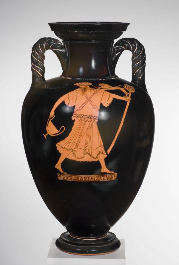 Bild Darstellung des Weingottes Dionysos auf einer Strickhenkelamphore aus Athen, um 470 v. Chr.