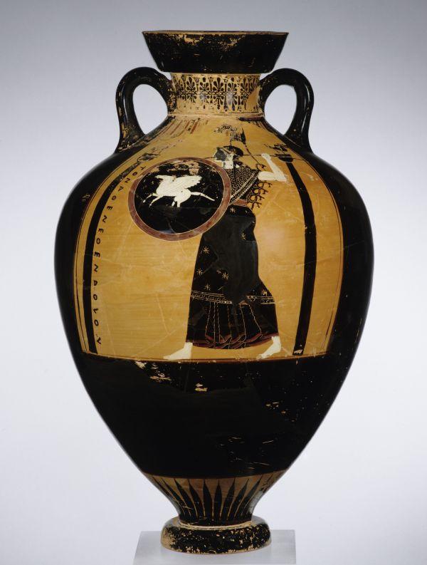 Bild Bei den Panathenäischen Preisamphoren handelt es sich um Siegespreise bei den Wettspielen zu Ehren der Göttin Athena in Athen, 500/490 v. Chr.