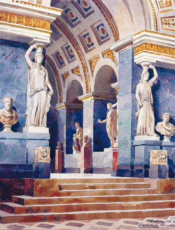 Bild Römersaal der Glyptothek in einem Aquarell von Wilhelm August Hahn, 1938