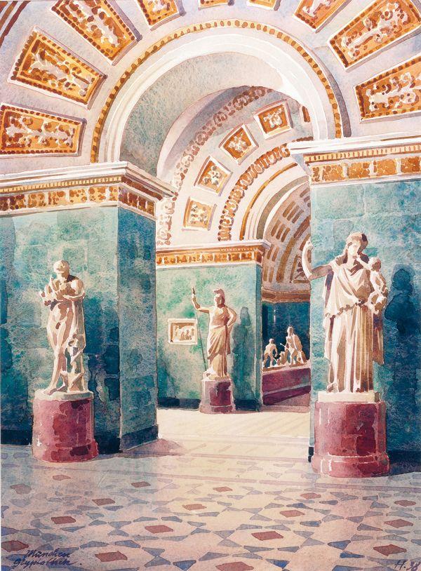 Bild Saal 5 der Glyptothek in einem Aquarell von Wilhelm August Hahn, 1938