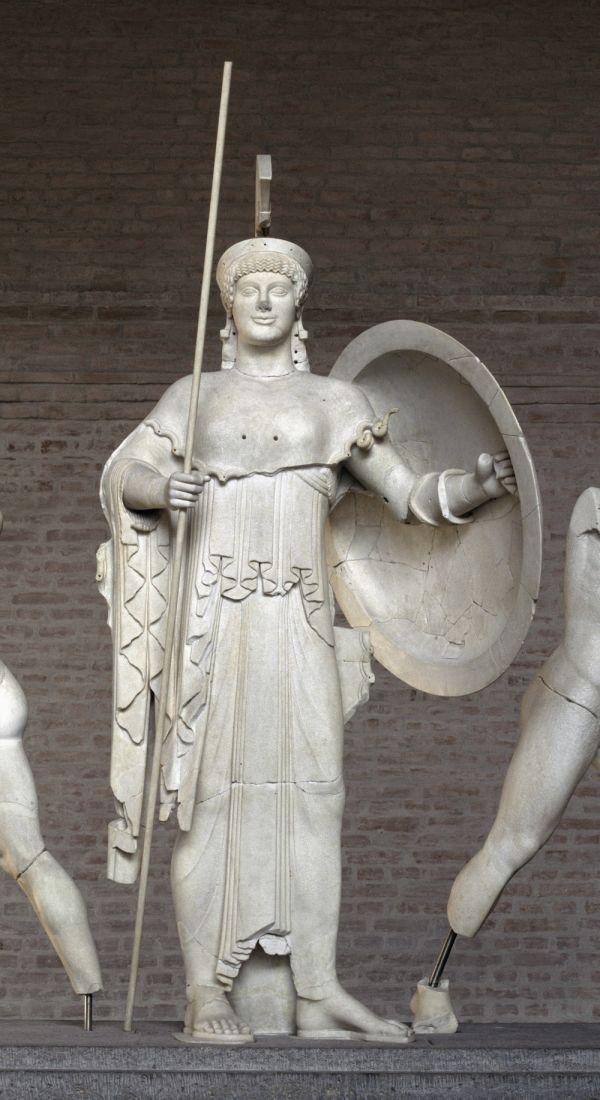 Bild Die gerüstete Göttin Athena vom Westgiebel des Aphaiatempels von Aigina