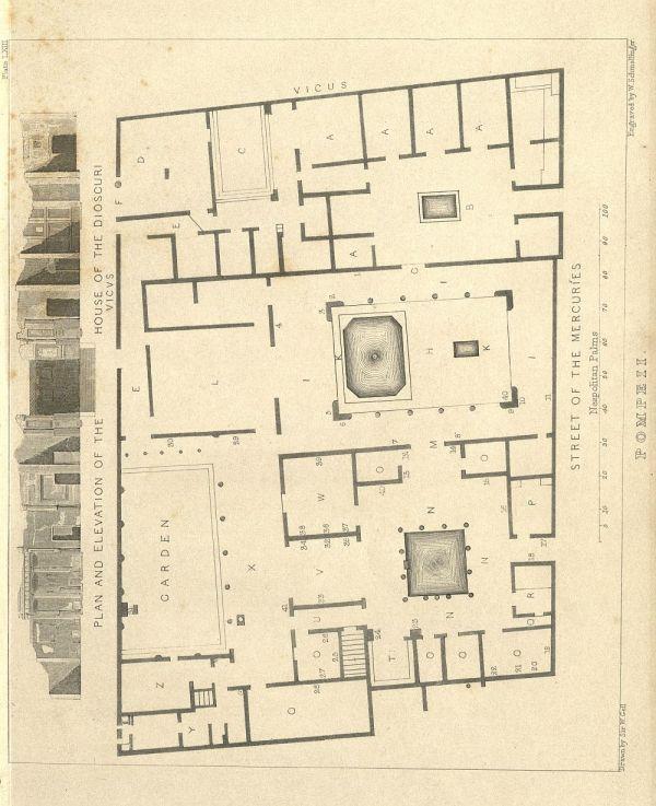 Bild Grundriss der Dioskurenvilla in Pompeji, die als Vorlage für das Pompejanum diente.