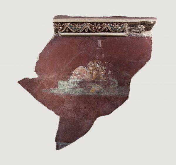 Bild Ein Fragment von bemaltem Wandverputz aus Pompeji, 1. Jahrhundert n. Chr.