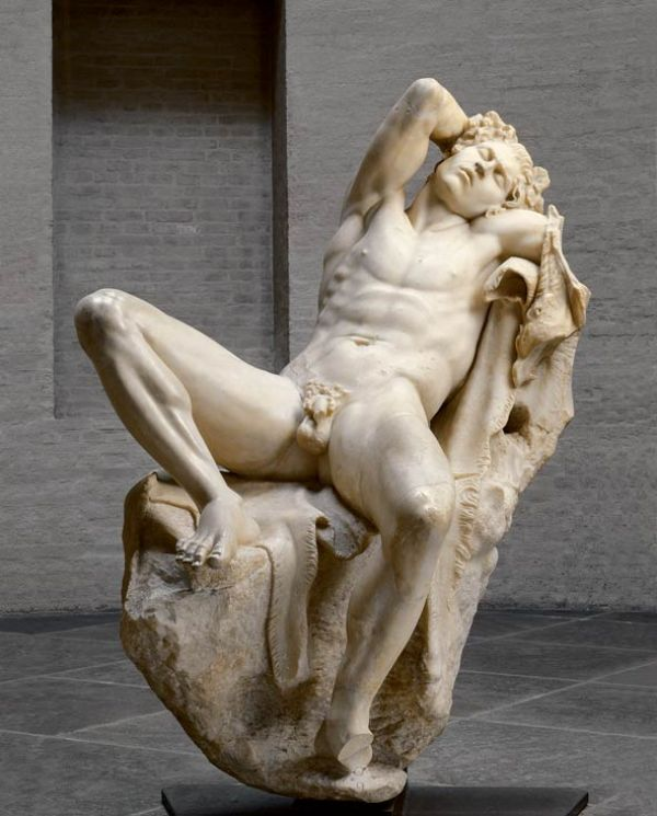 Image The tall drunken satyr, a male nature spirit with ears and a tail of a horse, was probably set up outside in a sanctuary of Dionysos. It is one of the major works of Hellenistic sculpture, around 220 B.C.