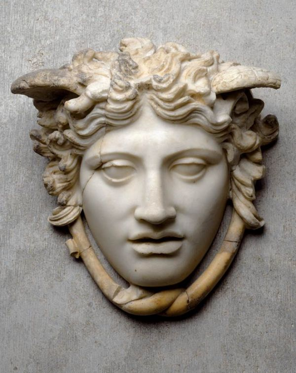 Image Gorgo Medusa is one of the most horrible creatures of Greek myth. Looking at her turned every mortal into stone. Marble copy dating from the Roman period of Medusa's head on the shield of the statue of Athena in the Parthenon around 440 B.C.