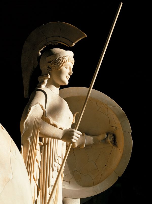 Image Statue of the goddess of wisdom and war from the west pediment of the temple of Aphaia at Aegina, around 500 B.C.