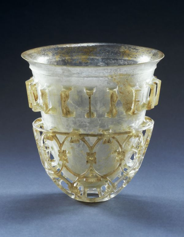 Image This precious Roman drinking cup, which is surrounded by a net bowl, comes from Cologne, 300–350 A.D.