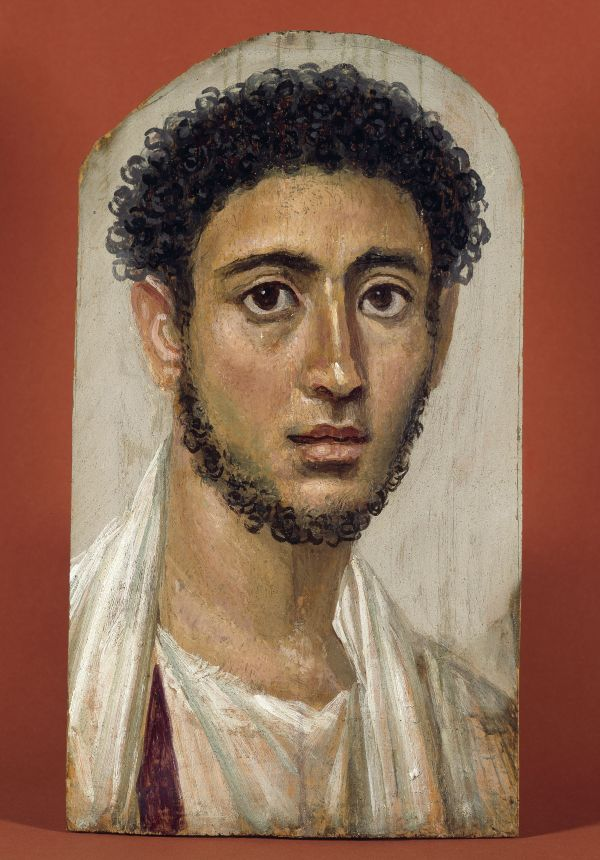 Image The mummy portrait from the Faiyum oasis shows a upper-class young man from Roman Egypt. Wax-tempera on wood, around 140 A.D.