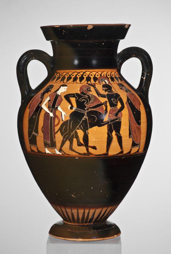 Bild Bauchamphore mit Bild des Herakles, der mit dem Nemeischen Löwen ringt. Aus Athen, um 530 v. Chr.