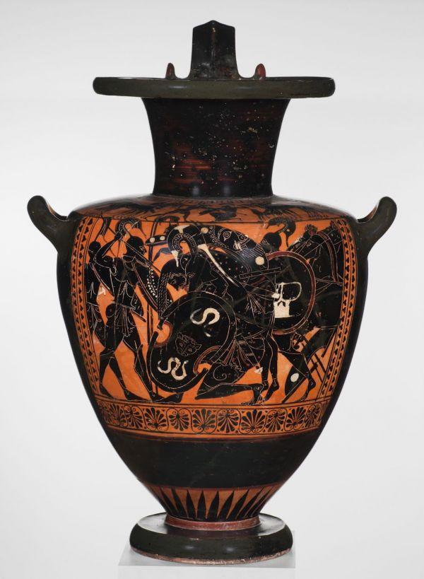 Bild Wassergefäß mit Szene aus dem Trojanischen Krieg Aias birgt den Leichnam Achills. Aus Athen, um 510 v. Chr.