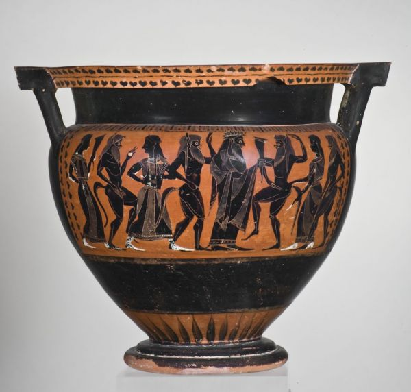 Bild In großen Gefäßen wie diesem Kolonettenkrater wurden Wasser und Wein gemischt. Aus Athen, um 540 v. Chr.
