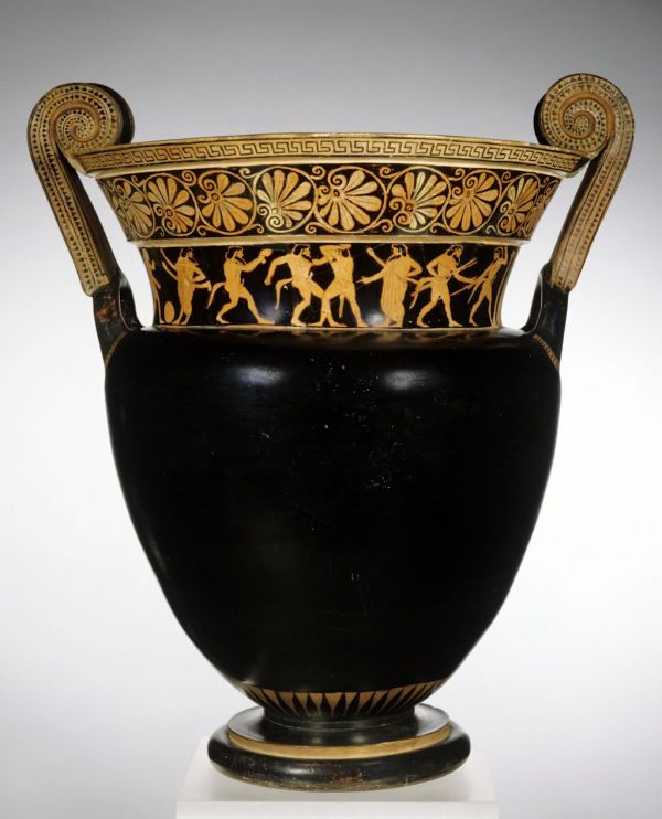 Bild Auf dem Halsbild dieses Volutenkraters trainieren Satyrn, als ob sie junge Männer wären. Aus Athen, um 510 v. Chr.