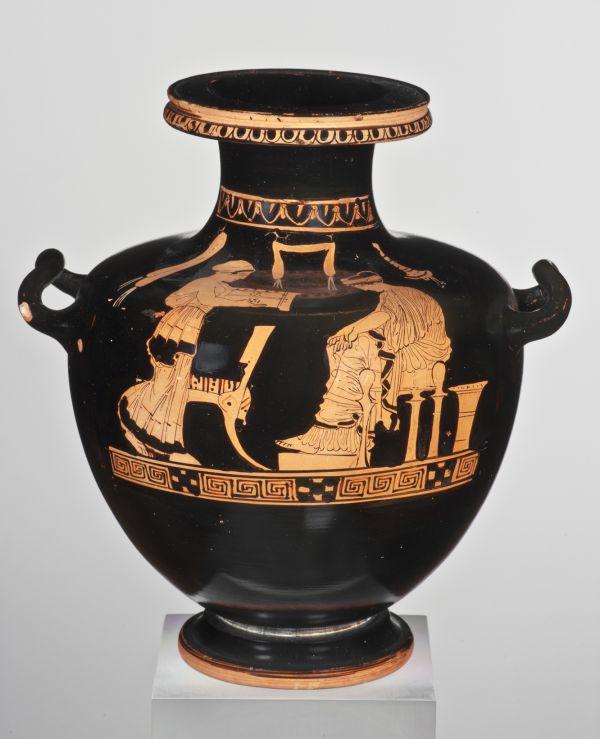 Bild. Darstellung weiblicher Hausarbeit Frauen trugen die Verantwortung im Haushalt. Dazu gehörte das Weben. Aus Athen, um 430 v. Chr.