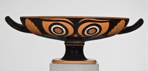 Bild Wenn diese Trinkschale das Gesicht des Zechers verdeckt, wirken die Augen dämonisch. Athen, 520–510 v. Chr.